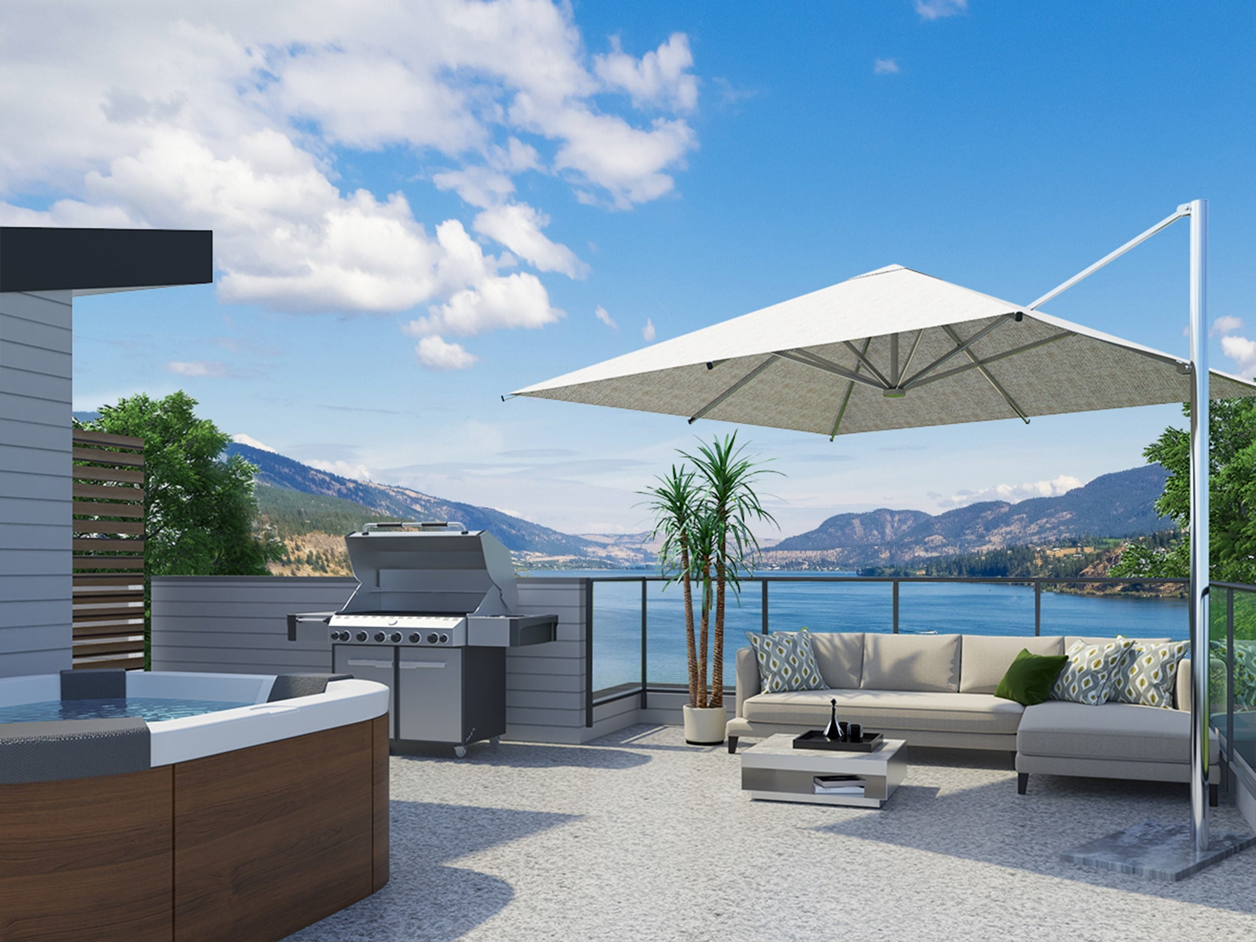600+ sq. ft. rooftop patio with lake view at The Landing at Wood Lake