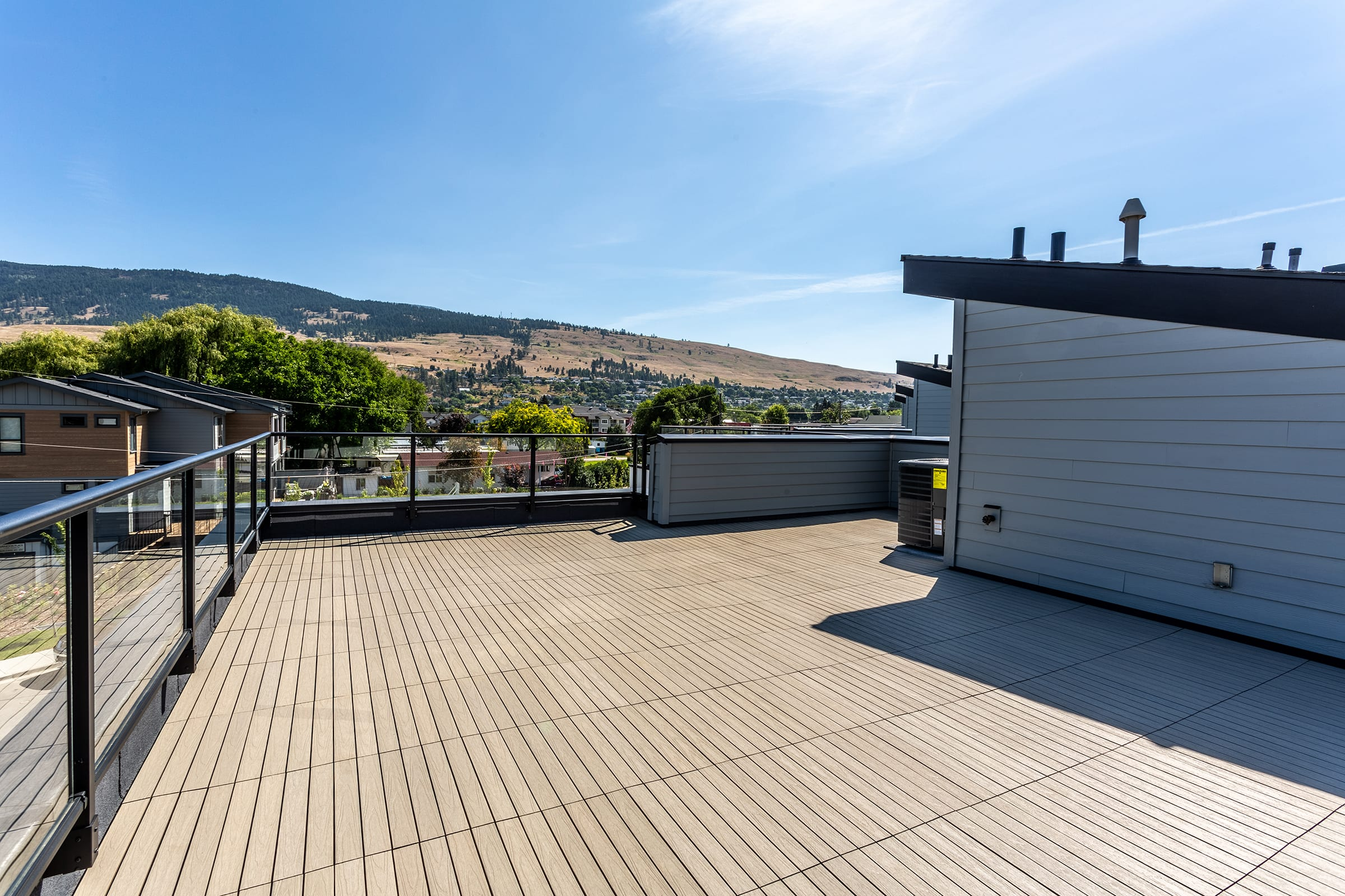 Rooftop patio with mountain views