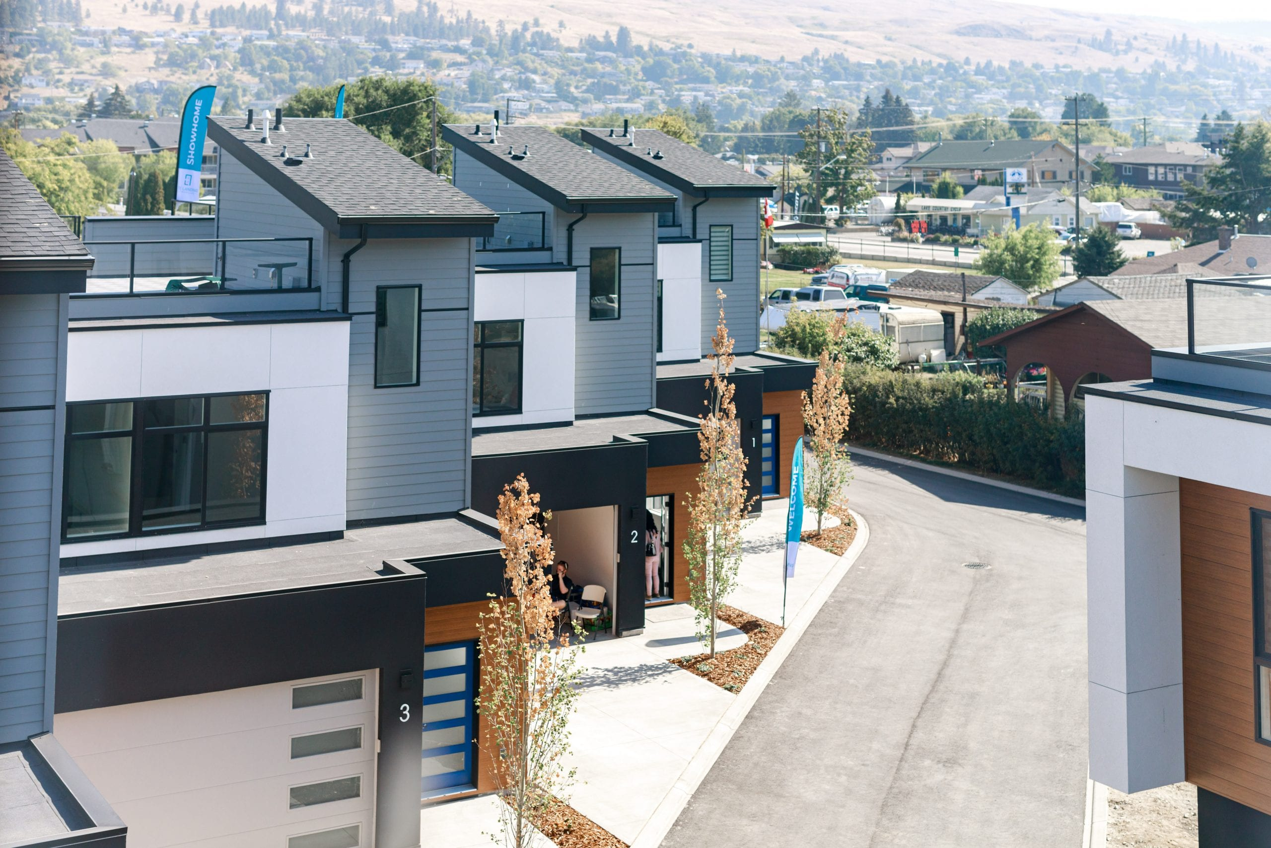 Exterior townhouse, lake country, modern home design, mixed exterior