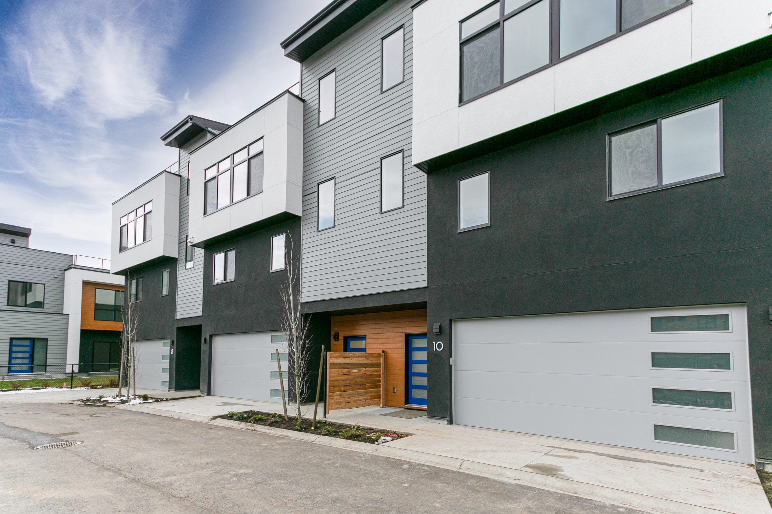 Front view of The Vista 3-storey townhome at The Landing at Wood Lake